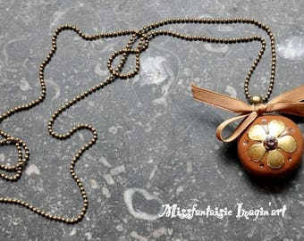 """Necklace polymer clay and satin """"Flower and bow"""" Brown"""