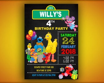 Sesame Street Birthday Invitation,Sesame Street Invitation,Sesame Street Birthday,Sesame Street Party,Valentine's Invitation,Valentine Cards