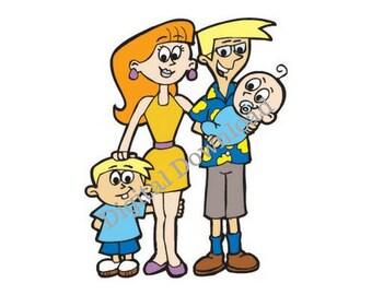 Family Cartoon Print - digital download