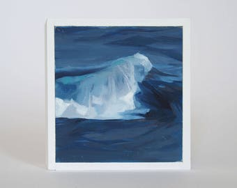 Mini Oil Painting Wave Landscape 3.5in x 3.5in