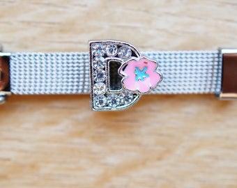letter width flower D alphabet Bracelet Bead
