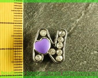 Pearl n heart N6 bandwidth rhinestone alphabet for bracelet