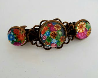 Barrette colorful 3 flower cabochons