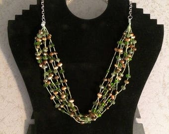 Upcycled necklace in shades of green