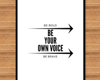 Be Your Own Voice in four settings. Four JPG files. Printable Wall Art, Quote art. Typography Poster, Printable Art. Trending wall art