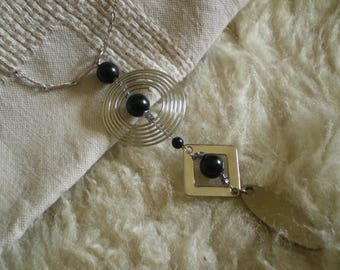 ethnic black and silver geometric pendant