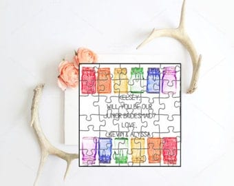 Rainbow Mason Jar Puzzle- Will you be my flower girl? Will you be my bridesmaid?