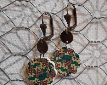 Wood and brass dangle earrings