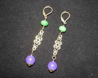 Antigorites green and purple earrings