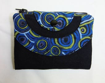 Black and blue circles pattern fabric wallet