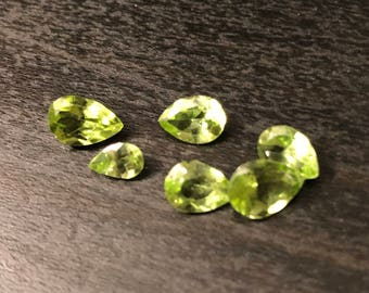 Natural Green Peridot Pear cuts