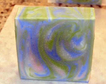 Handmade Soap -In The Pot Swirl Blue & Green