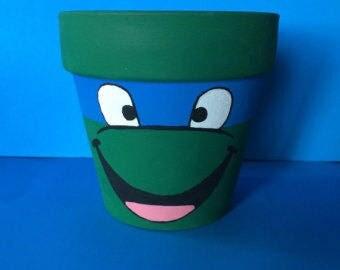 Teenage Muntant Ninja Turtles Leonardo Inspired Terra Cotta Pot