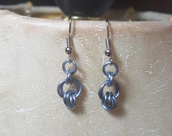 Earrings, french wire, gunmetal, light blue, lightweight, gift, something for fun,