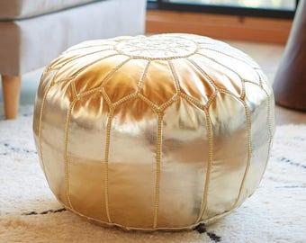 MOROCCAN POUF ottoman POUFFE gold faux leather