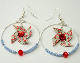 """Origami earrings """"Windmill circles"""" red blue"""