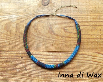 Maasai style necklace made of wax (African fabric) 22017