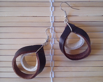 """Earrings """"harter with brown leather"""""""