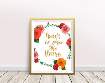 There's no place like home, Printable Art, Quote Print, Inspirational Print, Home Decor, Wall Art, Instant Download