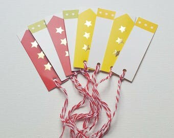 Metallic star gift tags. labels