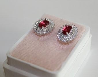 Silver Pink Ruby Earrings
