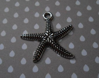 Charm or pendant star fish silver plated 25 x 25 mm