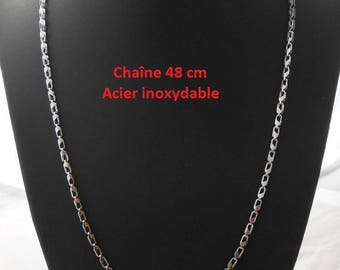 48 cm silver color stainless steel chain