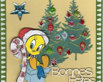 on a background of Christmas trees Christmas Canary 3D card