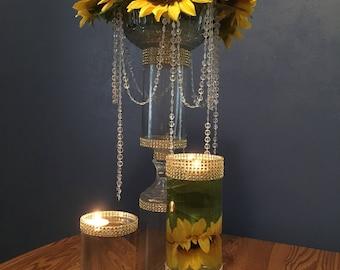 Wedding floral crystal centerpiece