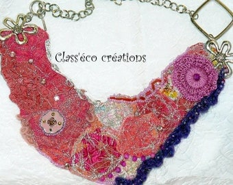 textile art fabric with embroidered beads necklace