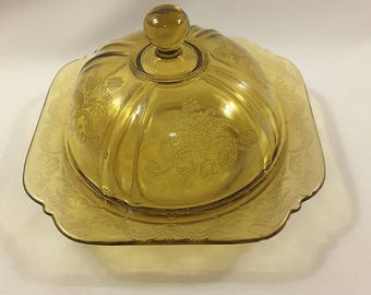 Vintage Amber/Yellow Butter Dish By FEDERAL Madrid