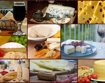 Photo collage, Poster Print, Printing on Matte Paper, Art print, Wine and cheese, Wall Art, Home decor, Kitchen decor, Gift