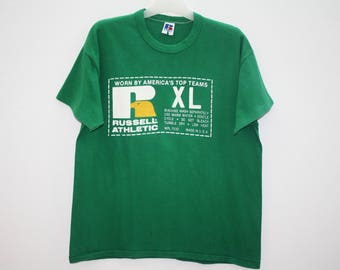Vintage Russel Athletic Coaches Corner Green Cotton T Shirt Made in USA Size XL