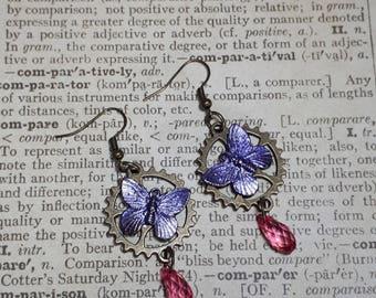 Steampunk earrings, butterfly