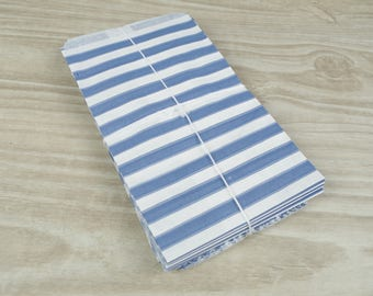 Clutch bags - Set of 10 - white patterned paper 9 x 15 cm for gifts, jewelry, candy blue horizontal stripes