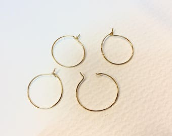 20 boucles d'oreilles créoles en laiton 20mm doré pour créations de bijoux