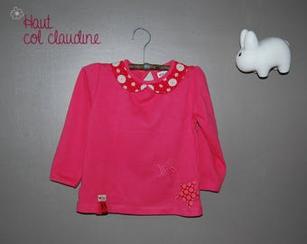 Pink girl tee-shirt with floral collar