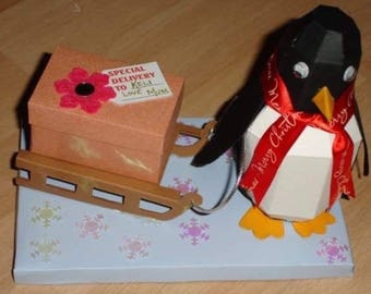 3D boxed Christmas Penguin Card