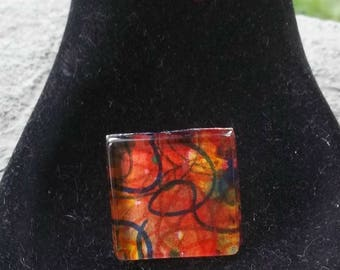 wearable watercolor hand painted art jewelry ring w/adjustable band #8