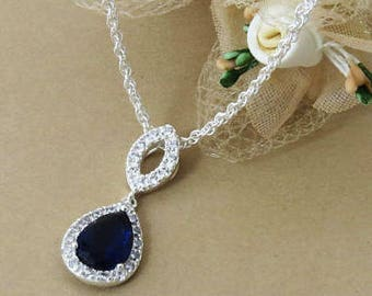 Sterling Silver Blue Sapphire Crystal Pendant, Sapphire Necklace, September Birthstone Necklace, Bridesmaid Blue Pendant Necklace