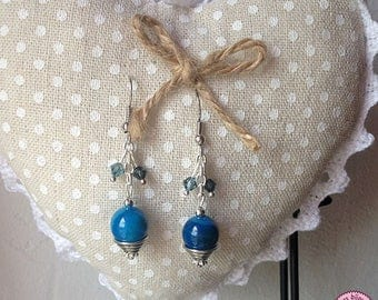 Agate and Swarovski crystals earrings