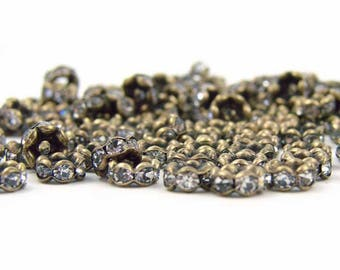 10 metal beads and rhinestones glass 6mm
