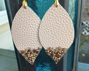 Faux Leather Earrings - Blush with Embellishments