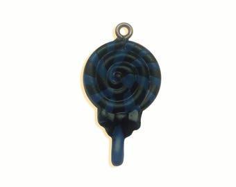 x 1 black and blue polymer clay lollipop charm