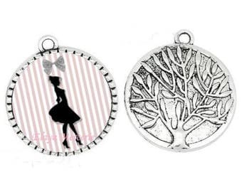 Pendant cabochon resin silhouette, pink 25mm