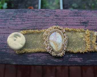 Gold Encased Cabachon Cuff with Antique Button Enclosure