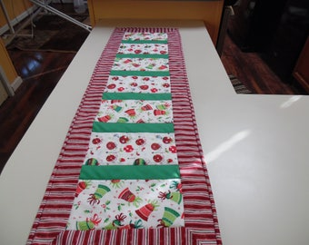 "Christmas Bells and Ornaments table runner  12.5"" by 41"""