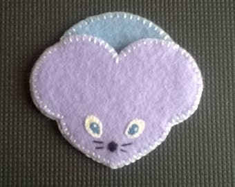 Purple and blue hand sewn felt tooth pouch