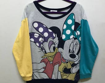 Rare!!! Disney Sweatshirt Pullover Big Picture Mickey And Minnie