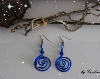 Blue spiral dangling earrings